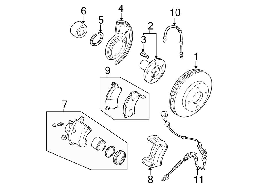 mazda tribute abs wheel speed sensor  front   left  brake  suspension