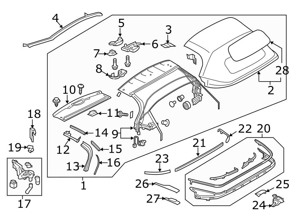Mazda Mx-5 Miata Convertible Top Seal  Right  Rear  Cover  Components  Body
