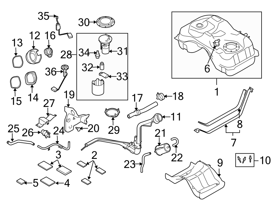 mazda 3 fuel  pump  filter  system  components  assembly